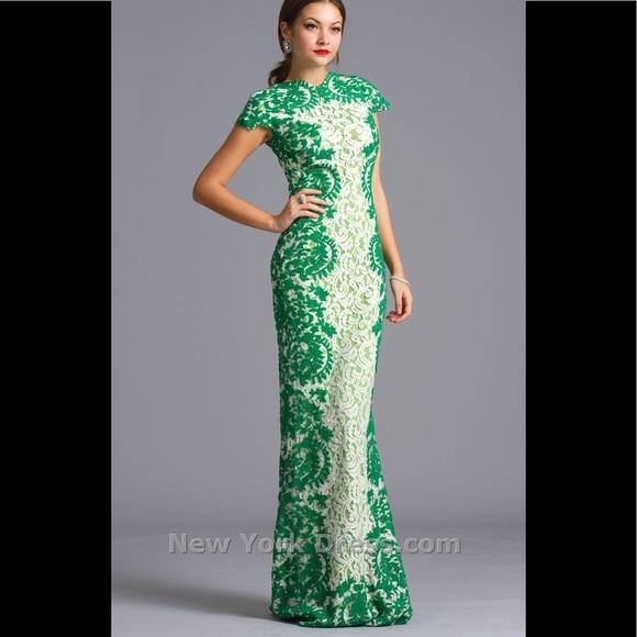 Tadashi Shoji Dresses | Green White Lace Gown Sz 0 Nwt Dress | Poshmark